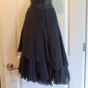 CAbi Asymmetrical Layered Cotton/Silk Blend Skirt